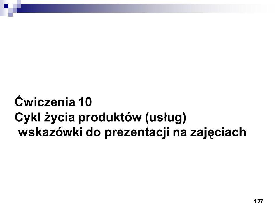 137 Ćwiczenia 10 Cykl życia produktów (usług) wskazówki do prezentacji na zajęciach