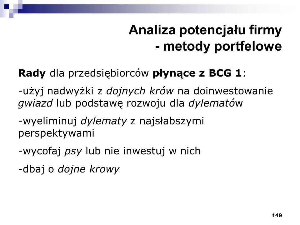149 Analiza potencjału firmy - metody portfelowe Rady dla przedsiębiorców płynące z BCG 1: -użyj nadwyżki z dojnych krów na doinwestowanie gwiazd lub podstawę rozwoju dla dylematów -wyeliminuj dylematy z najsłabszymi perspektywami -wycofaj psy lub nie inwestuj w nich -dbaj o dojne krowy