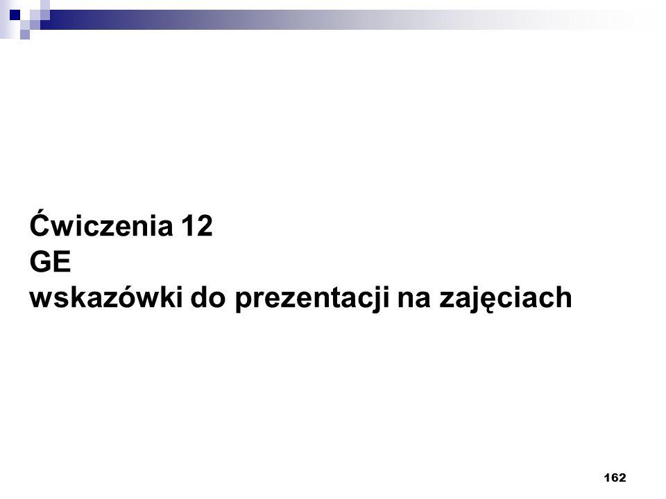 162 Ćwiczenia 12 GE wskazówki do prezentacji na zajęciach