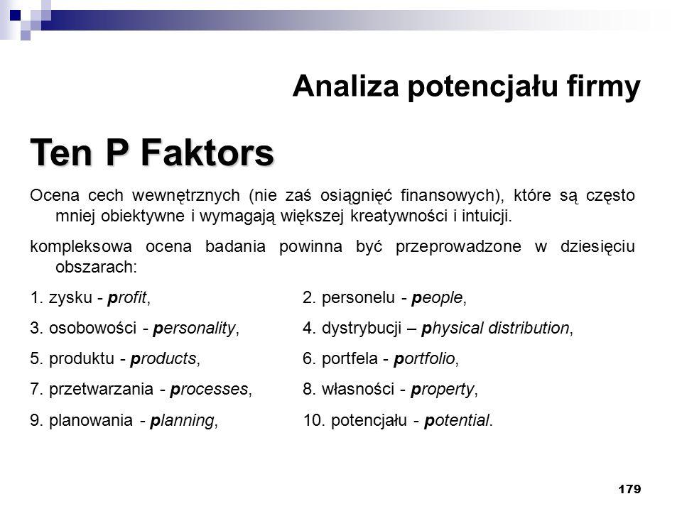 179 Analiza potencjału firmy Ten P Faktors Ocena cech wewnętrznych (nie zaś osiągnięć finansowych), które są często mniej obiektywne i wymagają większej kreatywności i intuicji.