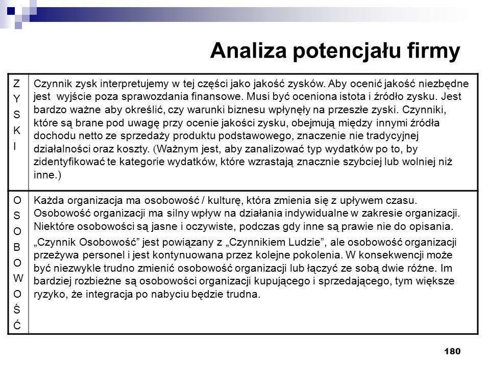 180 Analiza potencjału firmy ZYSKIZYSKI Czynnik zysk interpretujemy w tej części jako jakość zysków.