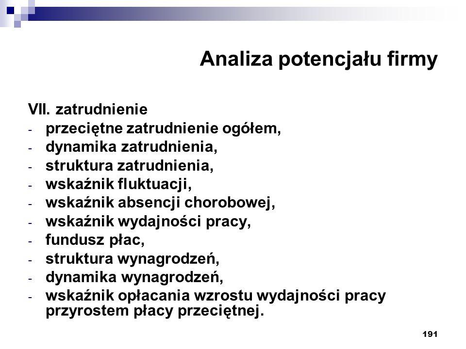 191 Analiza potencjału firmy VII.