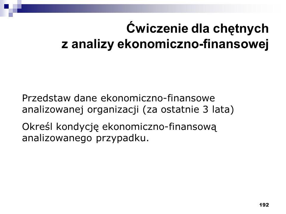 192 Ćwiczenie dla chętnych z analizy ekonomiczno-finansowej Przedstaw dane ekonomiczno-finansowe analizowanej organizacji (za ostatnie 3 lata) Określ kondycję ekonomiczno-finansową analizowanego przypadku.