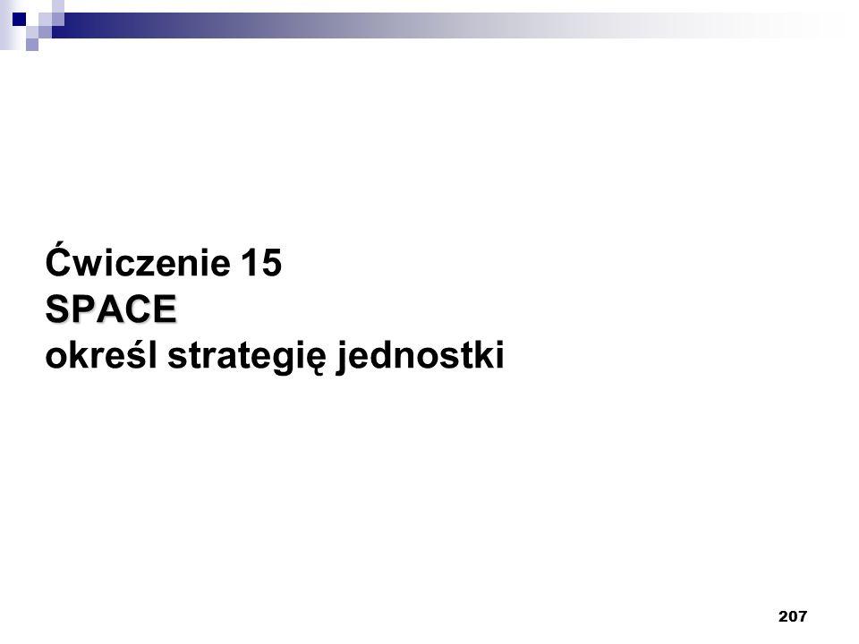 207 SPACE Ćwiczenie 15 SPACE określ strategię jednostki