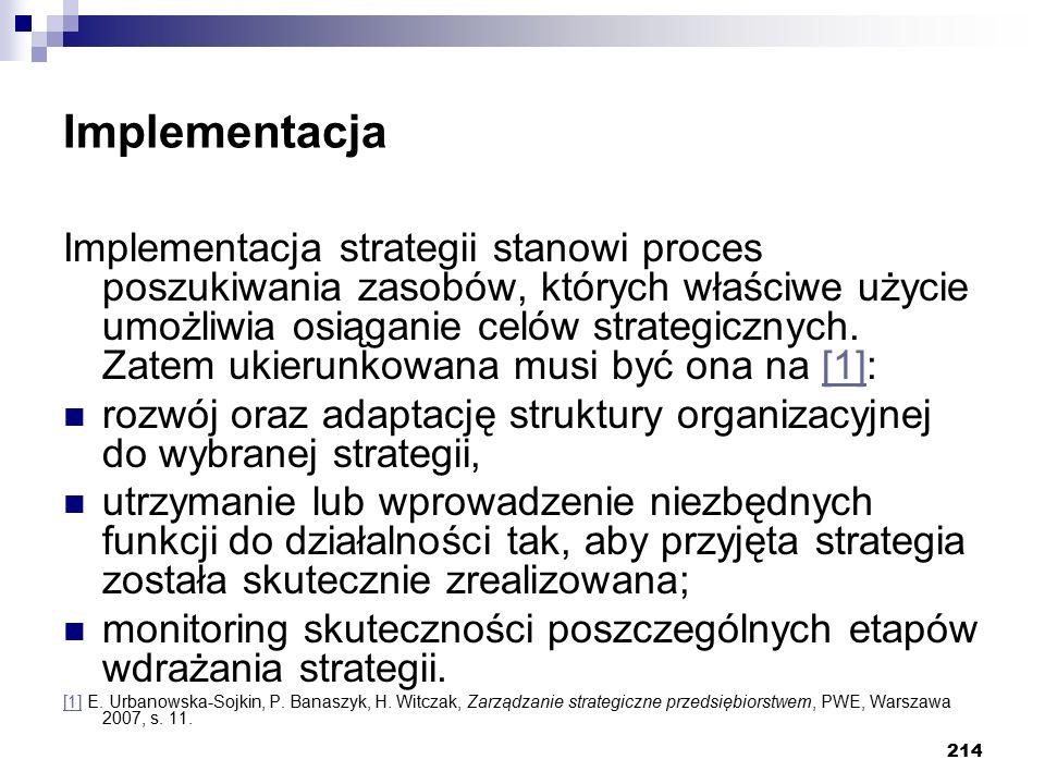 214 Implementacja Implementacja strategii stanowi proces poszukiwania zasobów, których właściwe użycie umożliwia osiąganie celów strategicznych. Zatem