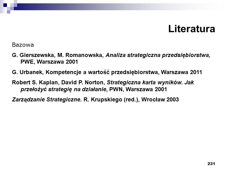 231 Literatura Bazowa G. Gierszewska, M. Romanowska, Analiza strategiczna przedsiębiorstwa, PWE, Warszawa 2001 G. Urbanek, Kompetencje a wartość przed