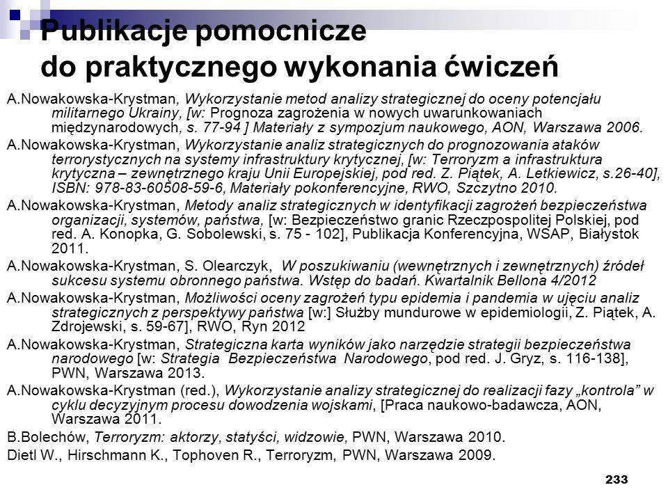 233 Publikacje pomocnicze do praktycznego wykonania ćwiczeń A.Nowakowska-Krystman, Wykorzystanie metod analizy strategicznej do oceny potencjału milit
