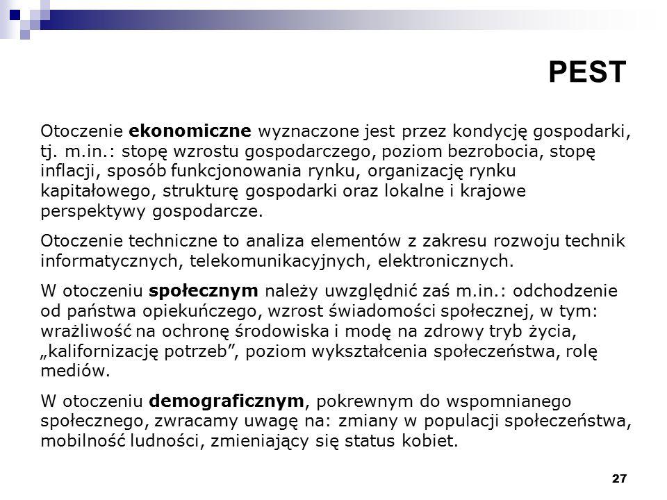 27 PEST Otoczenie ekonomiczne wyznaczone jest przez kondycję gospodarki, tj.