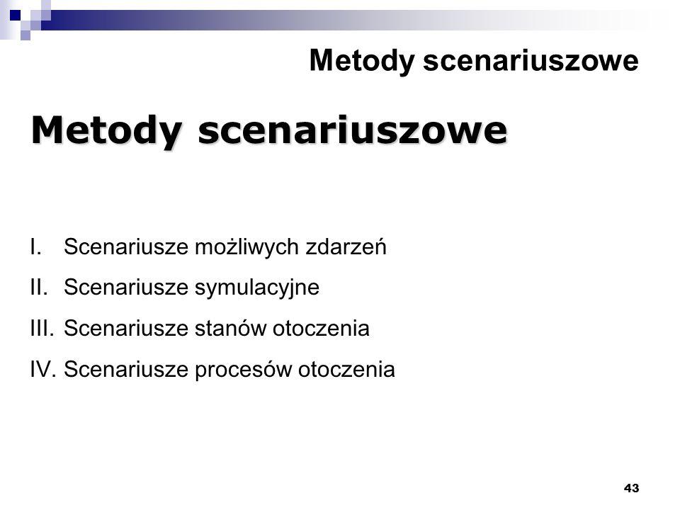 43 Metody scenariuszowe I.Scenariusze możliwych zdarzeń II.Scenariusze symulacyjne III.Scenariusze stanów otoczenia IV.Scenariusze procesów otoczenia