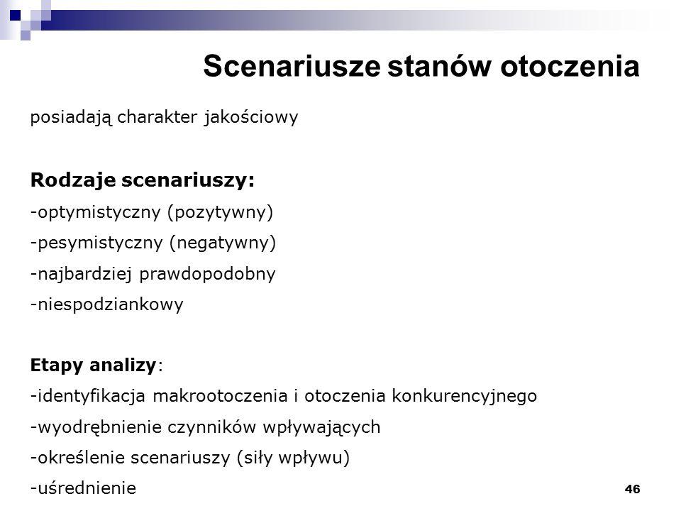 46 Scenariusze stanów otoczenia posiadają charakter jakościowy Rodzaje scenariuszy: -optymistyczny (pozytywny) -pesymistyczny (negatywny) -najbardziej