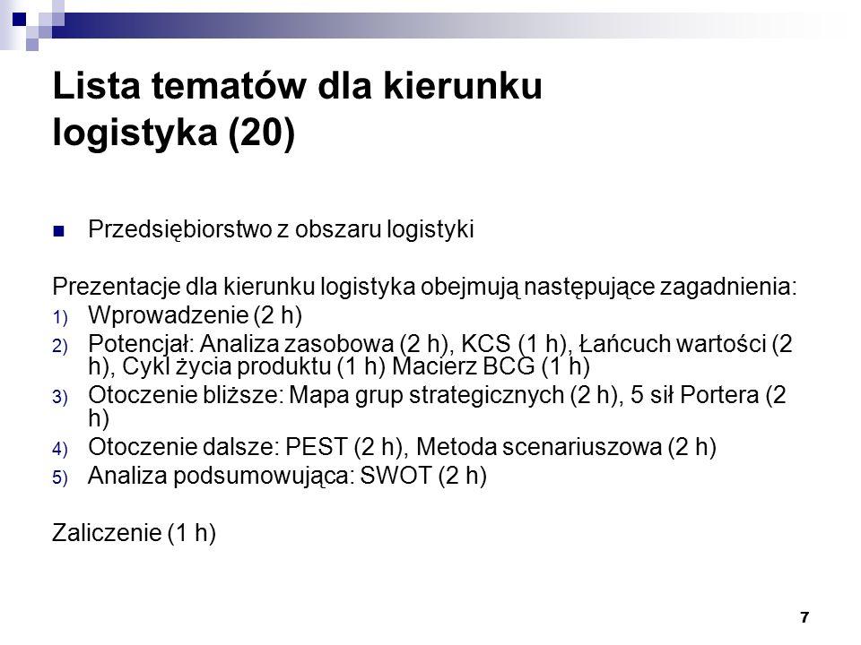 7 Lista tematów dla kierunku logistyka (20) Przedsiębiorstwo z obszaru logistyki Prezentacje dla kierunku logistyka obejmują następujące zagadnienia: 1) Wprowadzenie (2 h) 2) Potencjał: Analiza zasobowa (2 h), KCS (1 h), Łańcuch wartości (2 h), Cykl życia produktu (1 h) Macierz BCG (1 h) 3) Otoczenie bliższe: Mapa grup strategicznych (2 h), 5 sił Portera (2 h) 4) Otoczenie dalsze: PEST (2 h), Metoda scenariuszowa (2 h) 5) Analiza podsumowująca: SWOT (2 h) Zaliczenie (1 h)