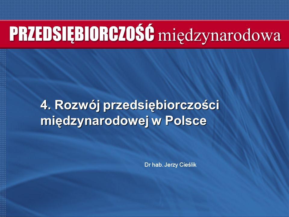 4. Rozwój przedsiębiorczości międzynarodowej w Polsce Dr hab. Jerzy Cieślik
