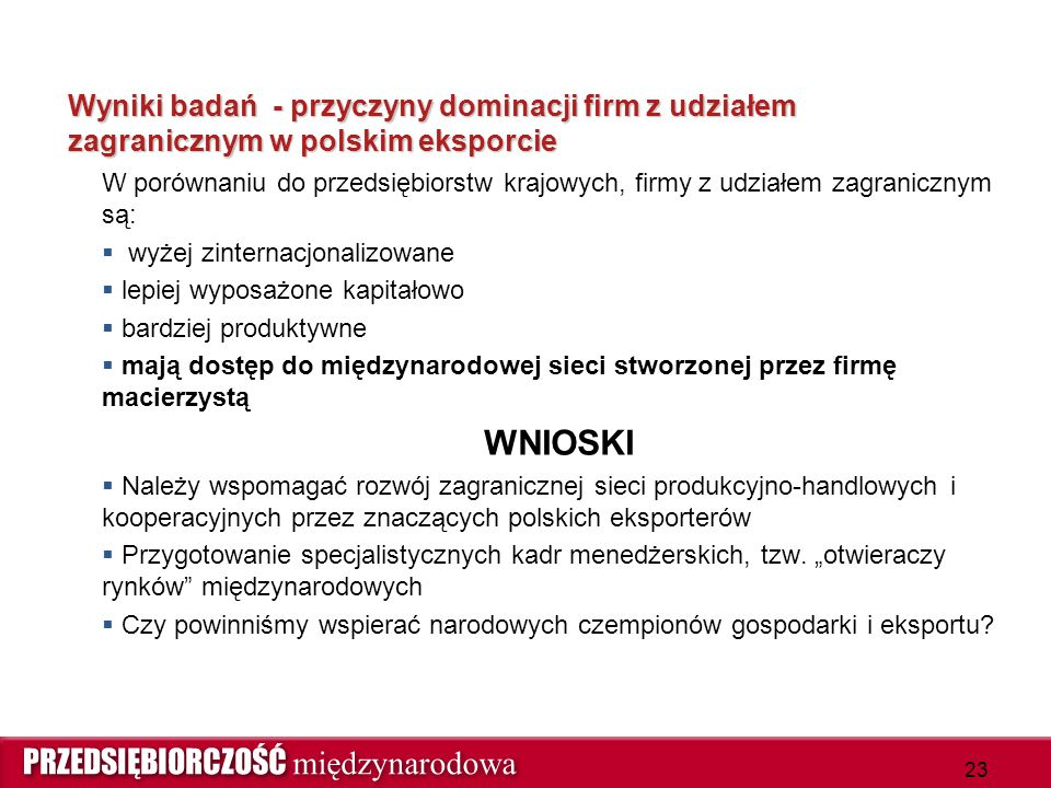 Wyniki badań - przyczyny dominacji firm z udziałem zagranicznym w polskim eksporcie W porównaniu do przedsiębiorstw krajowych, firmy z udziałem zagranicznym są:  wyżej zinternacjonalizowane  lepiej wyposażone kapitałowo  bardziej produktywne  mają dostęp do międzynarodowej sieci stworzonej przez firmę macierzystą WNIOSKI  Należy wspomagać rozwój zagranicznej sieci produkcyjno-handlowych i kooperacyjnych przez znaczących polskich eksporterów  Przygotowanie specjalistycznych kadr menedżerskich, tzw.