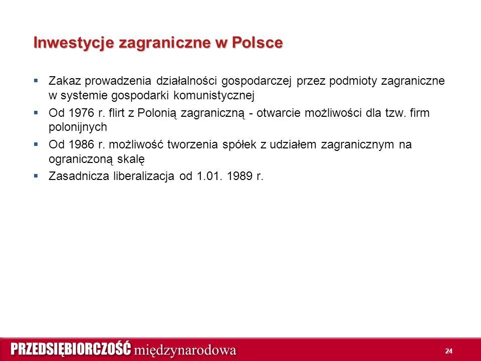 24 Inwestycje zagraniczne w Polsce  Zakaz prowadzenia działalności gospodarczej przez podmioty zagraniczne w systemie gospodarki komunistycznej  Od 1976 r.