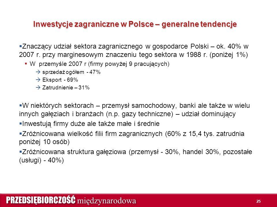 25 Inwestycje zagraniczne w Polsce – generalne tendencje  Znaczący udział sektora zagranicznego w gospodarce Polski – ok. 40% w 2007 r. przy margines