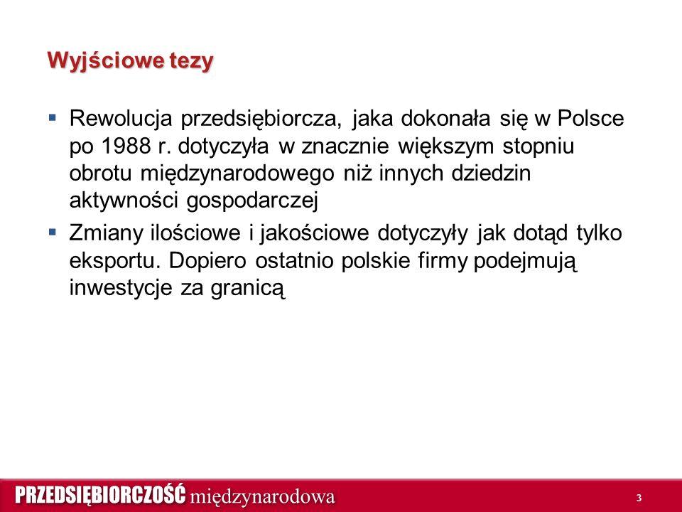 3 Wyjściowe tezy  Rewolucja przedsiębiorcza, jaka dokonała się w Polsce po 1988 r. dotyczyła w znacznie większym stopniu obrotu międzynarodowego niż