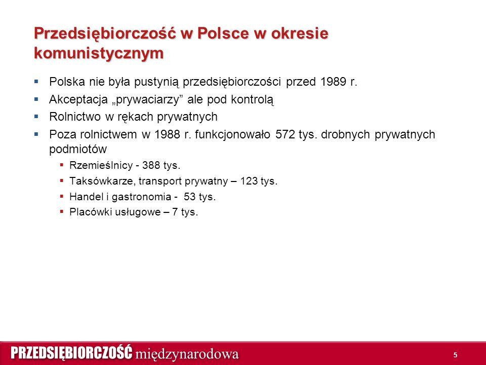 5 Przedsiębiorczość w Polsce w okresie komunistycznym  Polska nie była pustynią przedsiębiorczości przed 1989 r.