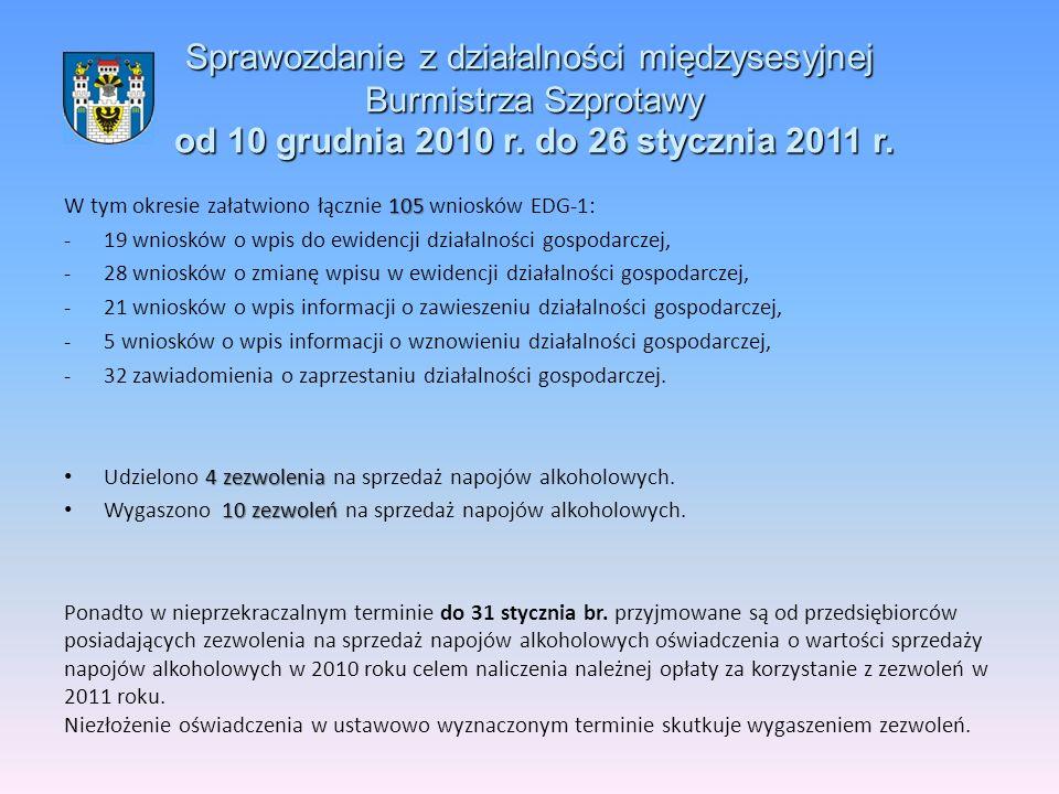 Sprawozdanie z działalności międzysesyjnej Burmistrza Szprotawy od 10 grudnia 2010 r.