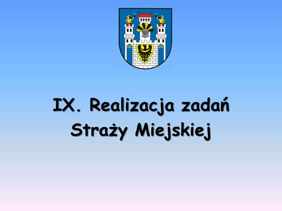 IX. Realizacja zadań Straży Miejskiej