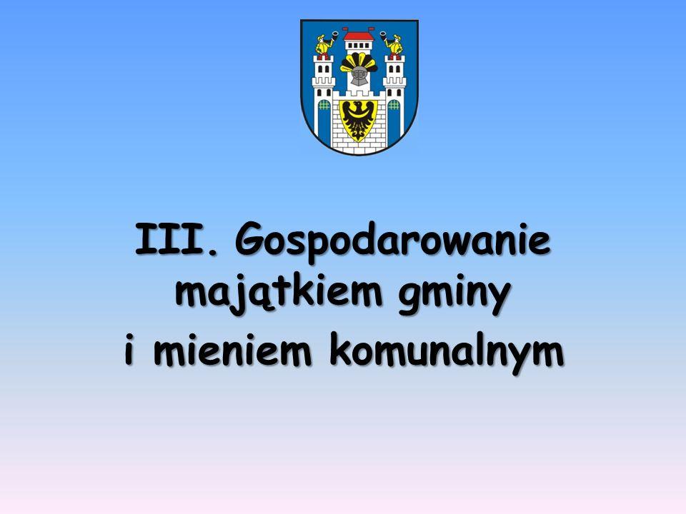 III. Gospodarowanie majątkiem gminy i mieniem komunalnym