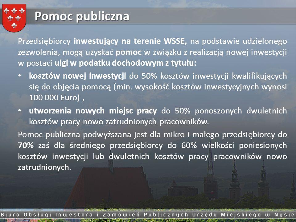 Pomoc publiczna Przedsiębiorcy inwestujący na terenie WSSE, na podstawie udzielonego zezwolenia, mogą uzyskać pomoc w związku z realizacją nowej inwes