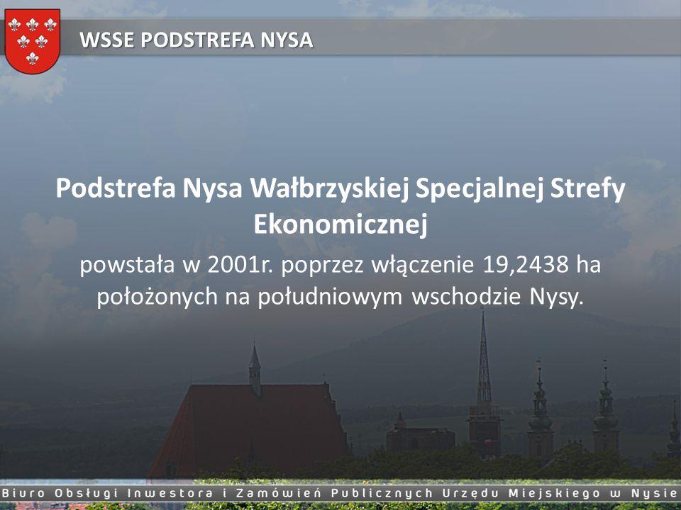 Podstrefa Nysa Wałbrzyskiej Specjalnej Strefy Ekonomicznej powstała w 2001r. poprzez włączenie 19,2438 ha położonych na południowym wschodzie Nysy. WS