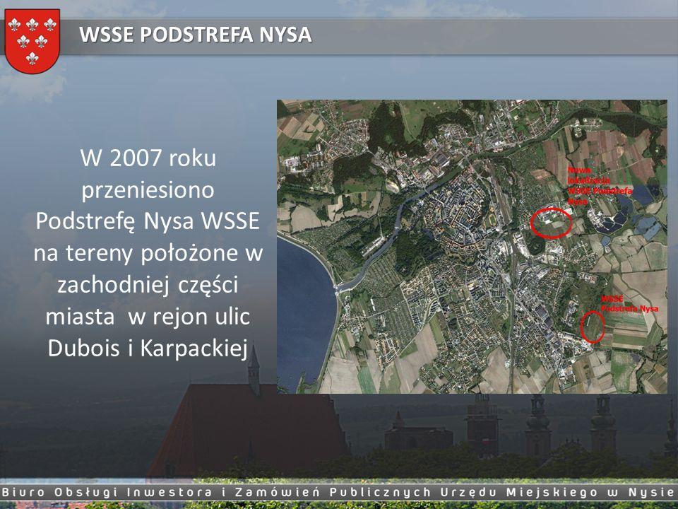 W 2007 roku przeniesiono Podstrefę Nysa WSSE na tereny położone w zachodniej części miasta w rejon ulic Dubois i Karpackiej WSSE PODSTREFA NYSA