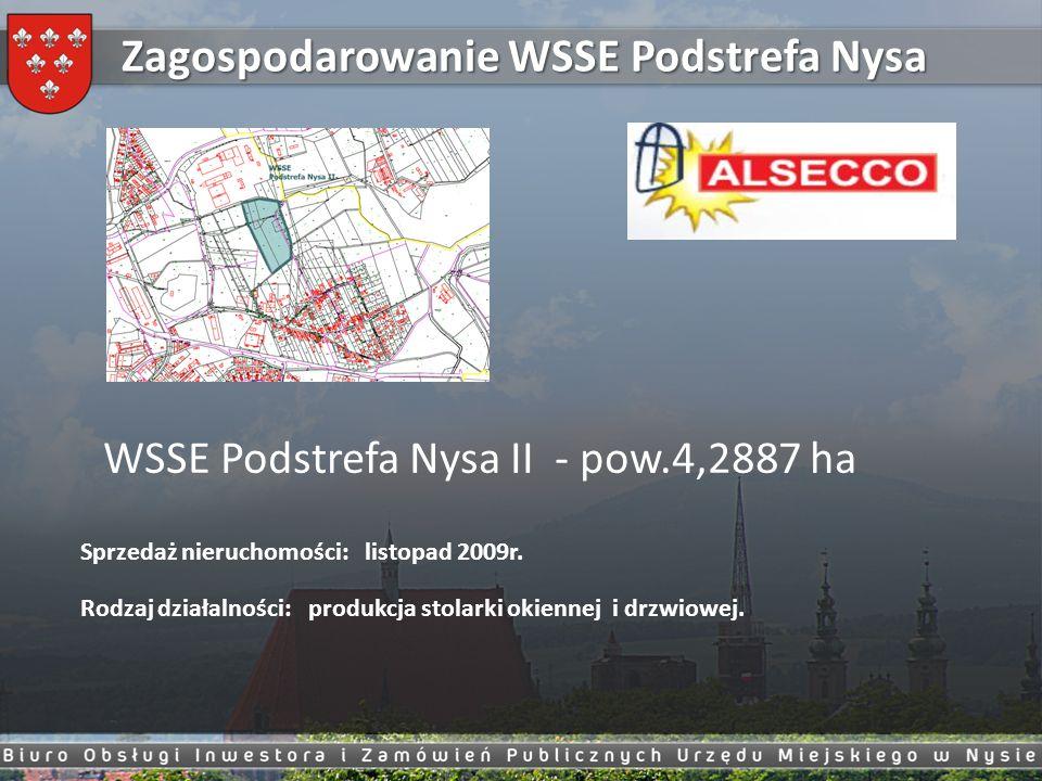 Zagospodarowanie WSSE Podstrefa Nysa WSSE Podstrefa Nysa II - pow.4,2887 ha Sprzedaż nieruchomości: listopad 2009r. Rodzaj działalności: produkcja sto