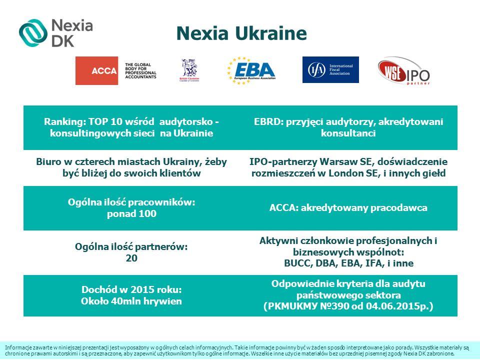 Nexia Ukraine Ranking: TOP 10 wśród audytorsko - konsultingowych sieci na Ukrainie EBRD: przyjęci audytorzy, akredytowani konsultanci Biuro w czterech miastach Ukrainy, żeby być bliżej do swoich klientów ІРО-partnerzy Warsaw SE, doświadczenie rozmieszczeń w London SE, i innych giełd Ogólna ilość pracowników: ponad 100 ACCA: akredytowany pracodawca Ogólna ilość partnerów: 20 Aktywni członkowie profesjonalnych i biznesowych wspólnot: BUCC, DBA, EBA, IFA, i inne Dochód w 2015 roku: Około 40mln hrywien Odpowiednie kryteria dla audytu państwowego sektora (PKMUКМУ №390 od 04.06.2015р.) Informacje zawarte w niniejszej prezentacji jest wyposażony w ogólnych celach informacyjnych.