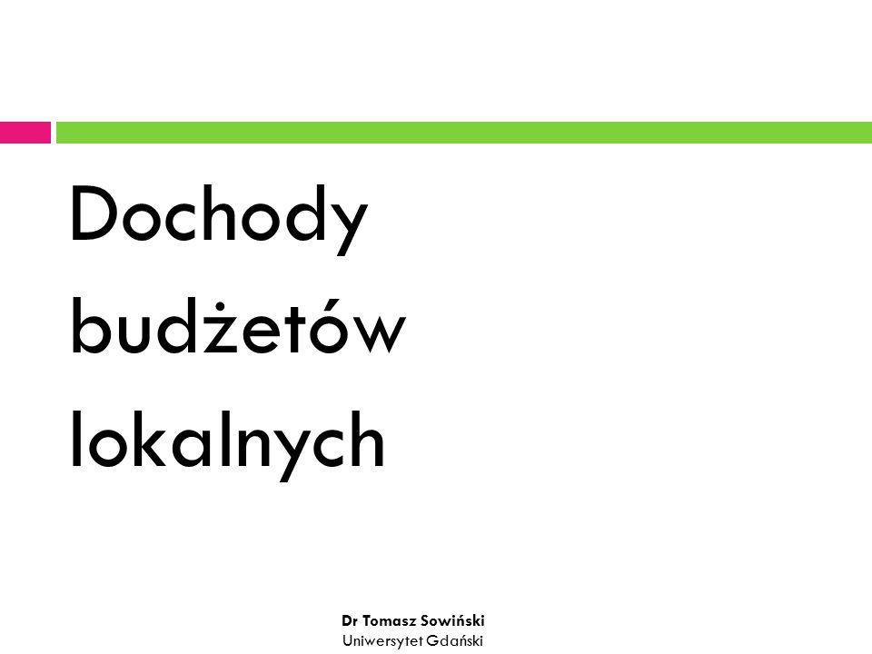 Dochody budżetów lokalnych Dr Tomasz Sowiński Uniwersytet Gdański