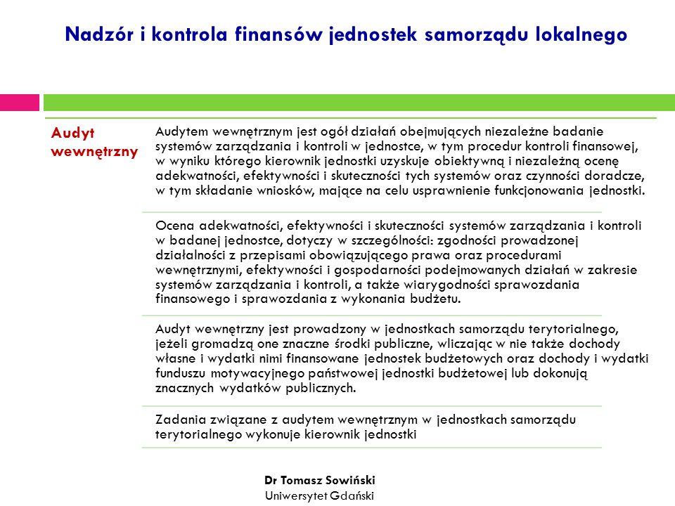 Nadzór i kontrola finansów jednostek samorządu lokalnego Audyt wewnętrzny Audytem wewnętrznym jest ogół działań obejmujących niezależne badanie systemów zarządzania i kontroli w jednostce, w tym procedur kontroli finansowej, w wyniku którego kierownik jednostki uzyskuje obiektywną i niezależną ocenę adekwatności, efektywności i skuteczności tych systemów oraz czynności doradcze, w tym składanie wniosków, mające na celu usprawnienie funkcjonowania jednostki.