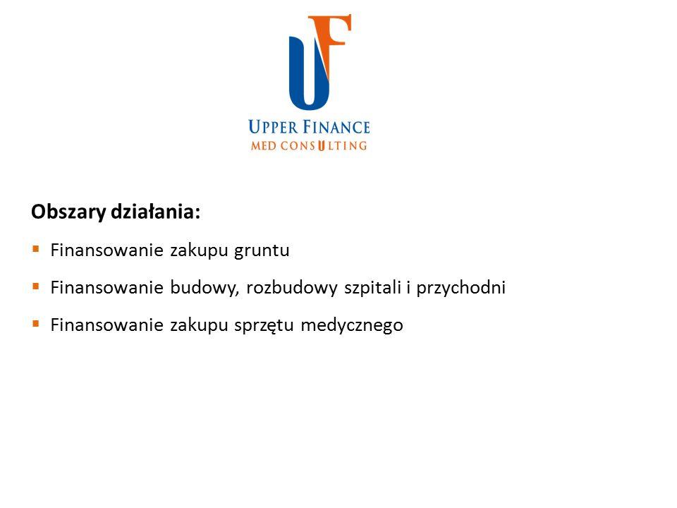 Obszary działania:  Finansowanie zakupu gruntu  Finansowanie budowy, rozbudowy szpitali i przychodni  Finansowanie zakupu sprzętu medycznego
