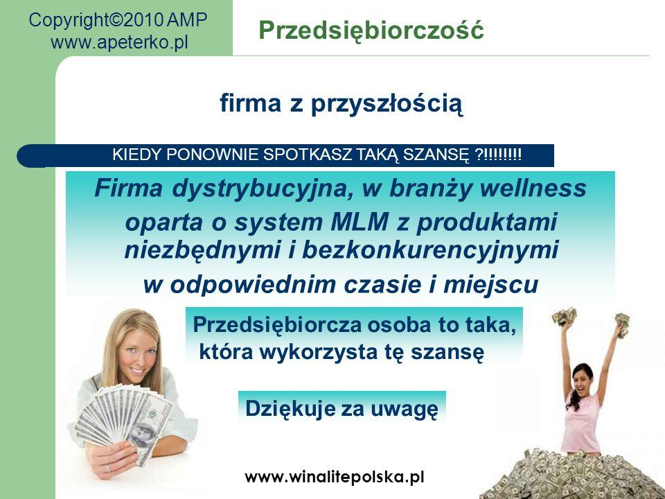 www.winalitepolska.pl Firma dystrybucyjna, w branży wellness oparta o system MLM z produktami niezbędnymi i bezkonkurencyjnymi w odpowiednim czasie i