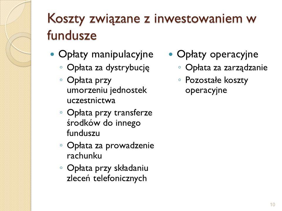 Koszty związane z inwestowaniem w fundusze Opłaty manipulacyjne ◦ Opłata za dystrybucję ◦ Opłata przy umorzeniu jednostek uczestnictwa ◦ Opłata przy transferze środków do innego funduszu ◦ Opłata za prowadzenie rachunku ◦ Opłata przy składaniu zleceń telefonicznych Opłaty operacyjne ◦ Opłata za zarządzanie ◦ Pozostałe koszty operacyjne 10