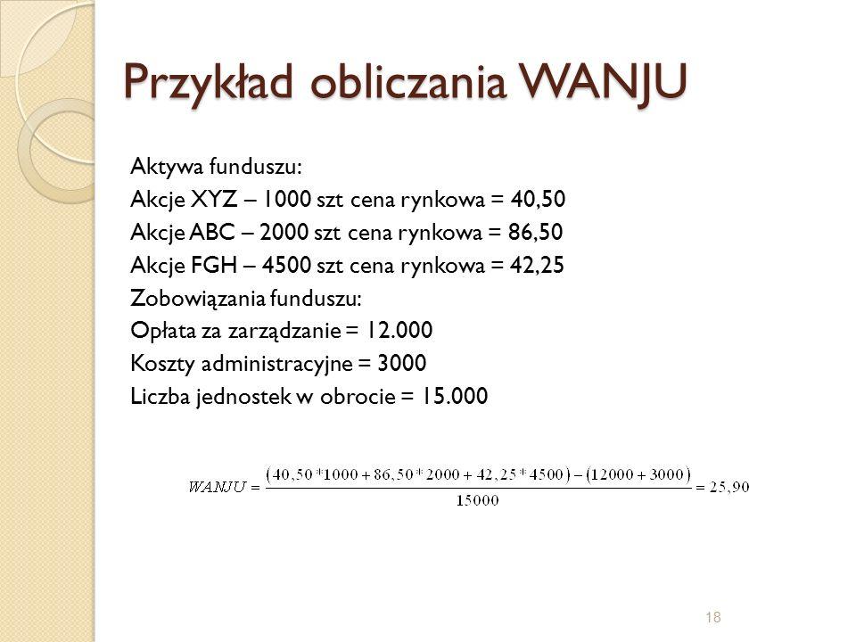Przykład obliczania WANJU Aktywa funduszu: Akcje XYZ – 1000 szt cena rynkowa = 40,50 Akcje ABC – 2000 szt cena rynkowa = 86,50 Akcje FGH – 4500 szt cena rynkowa = 42,25 Zobowiązania funduszu: Opłata za zarządzanie = 12.000 Koszty administracyjne = 3000 Liczba jednostek w obrocie = 15.000 18