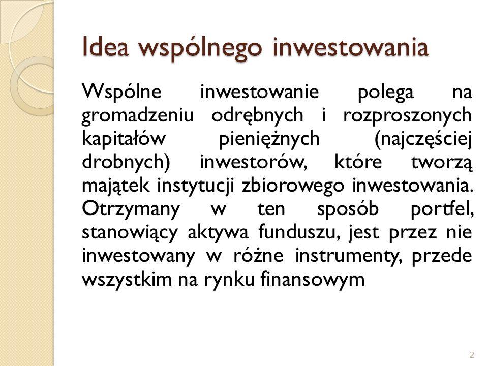 Zawartość KII Cele i polityka inwestycyjna funduszu Profil ryzyko / stopa zwrotu – wskaźnik syntetyczny (SRRI) (skala 7 stopniowa) Opłaty ◦ Opłaty na wejściu/wyjściu ◦ Opłaty roczne (ongoing charges) ◦ Opłaty za wynik (performance fee) Prezentacja wyników historycznych (10 lat) Informacje praktyczne