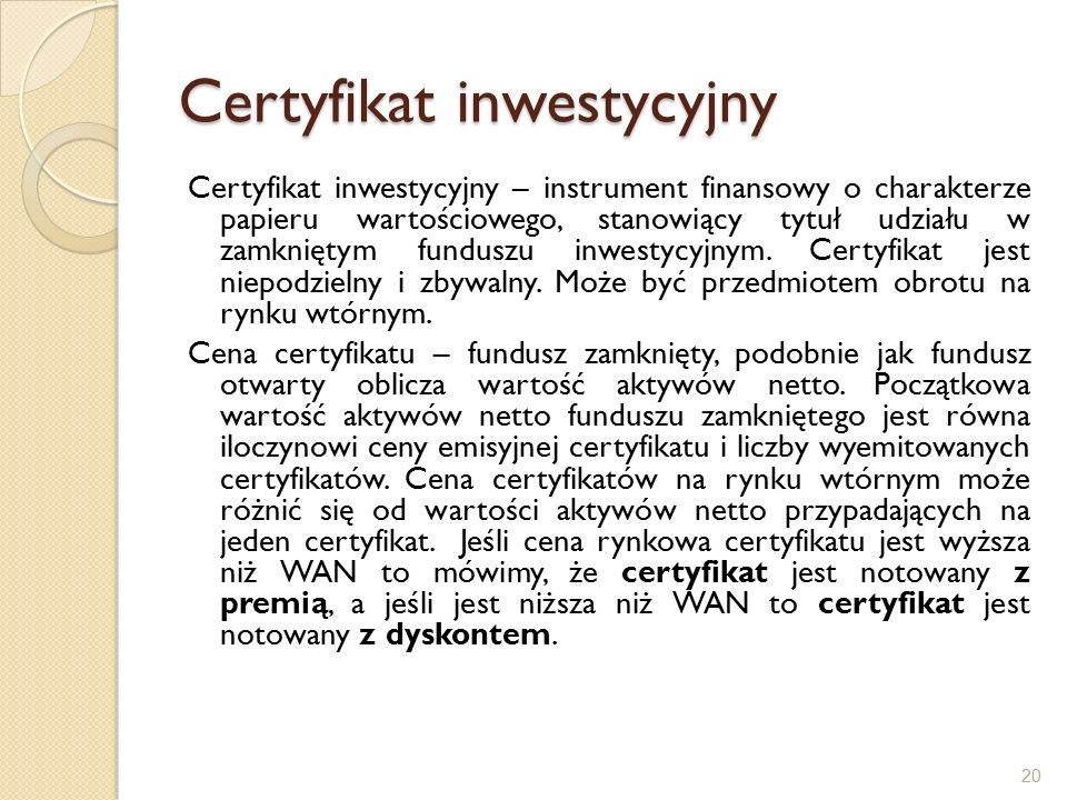 Certyfikat inwestycyjny Certyfikat inwestycyjny – instrument finansowy o charakterze papieru wartościowego, stanowiący tytuł udziału w zamkniętym funduszu inwestycyjnym.