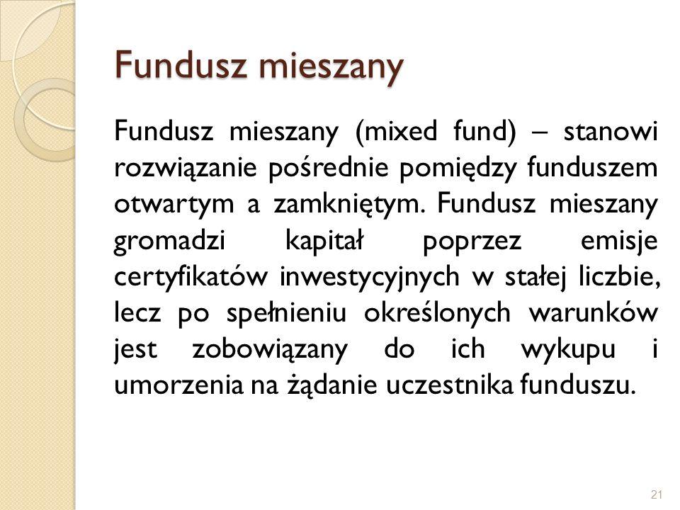 Fundusz mieszany Fundusz mieszany (mixed fund) – stanowi rozwiązanie pośrednie pomiędzy funduszem otwartym a zamkniętym.