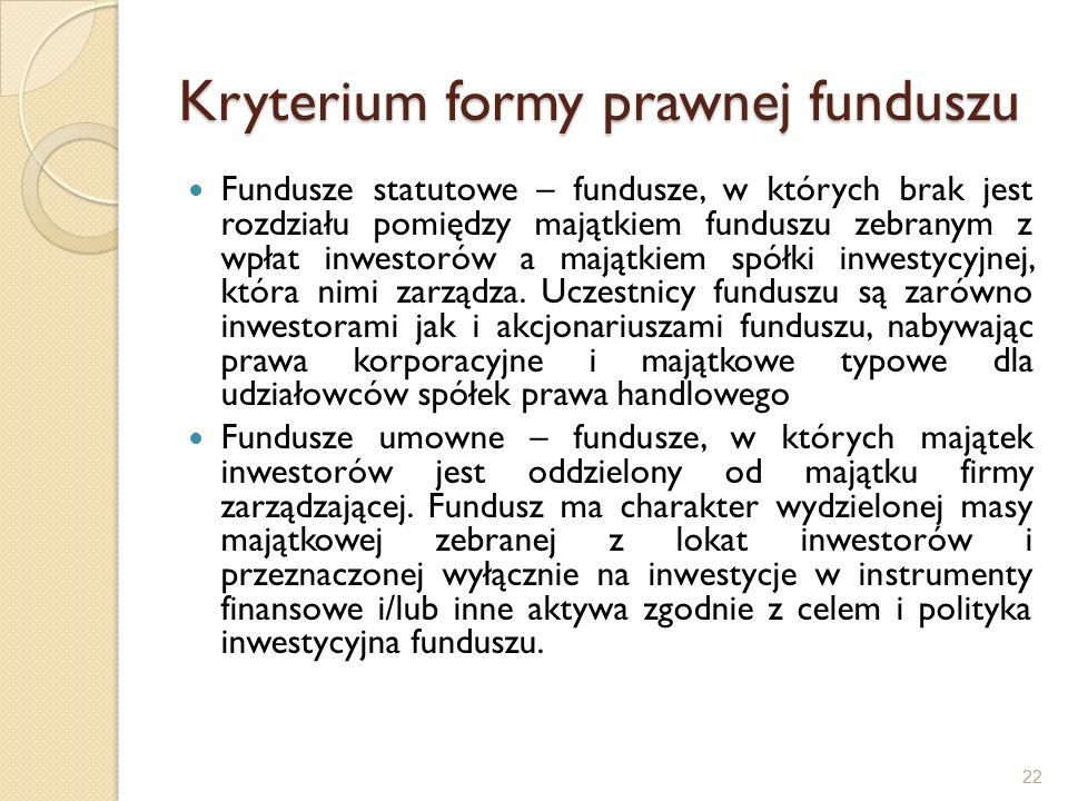 Kryterium formy prawnej funduszu Fundusze statutowe – fundusze, w których brak jest rozdziału pomiędzy majątkiem funduszu zebranym z wpłat inwestorów a majątkiem spółki inwestycyjnej, która nimi zarządza.