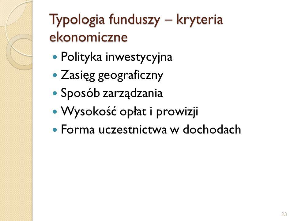 Typologia funduszy – kryteria ekonomiczne Polityka inwestycyjna Zasięg geograficzny Sposób zarządzania Wysokość opłat i prowizji Forma uczestnictwa w dochodach 23