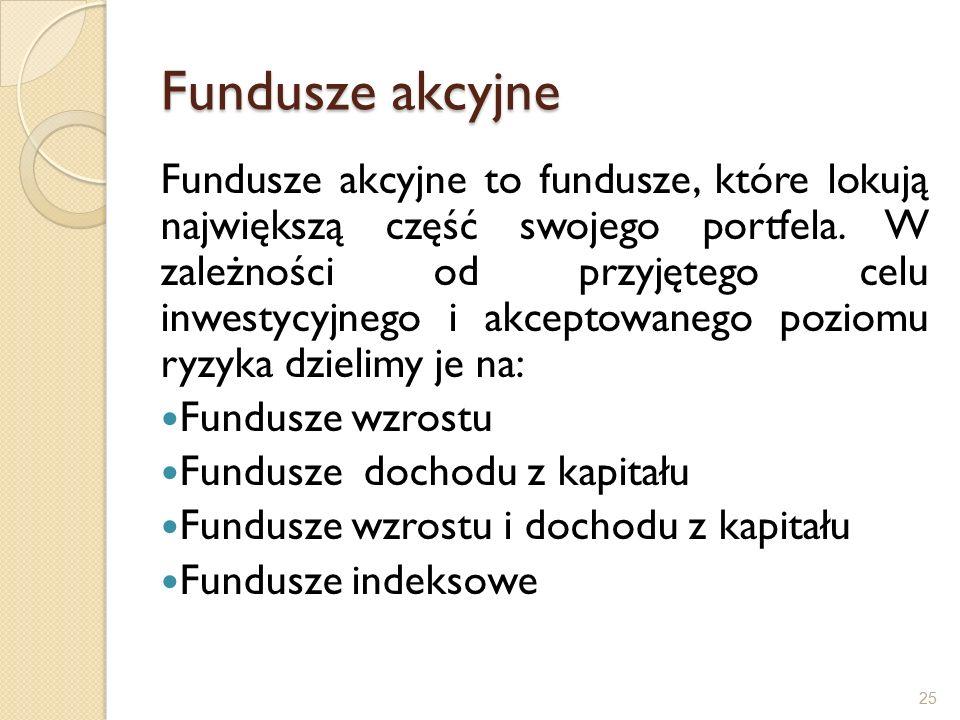 Fundusze akcyjne Fundusze akcyjne to fundusze, które lokują największą część swojego portfela.