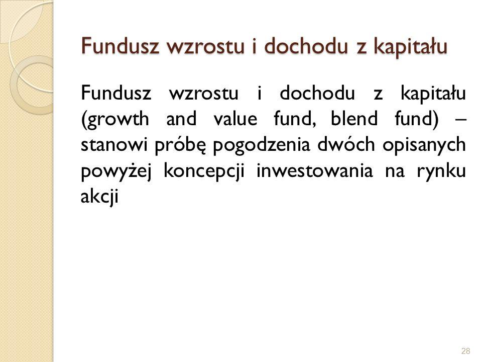 Fundusz wzrostu i dochodu z kapitału Fundusz wzrostu i dochodu z kapitału (growth and value fund, blend fund) – stanowi próbę pogodzenia dwóch opisanych powyżej koncepcji inwestowania na rynku akcji 28