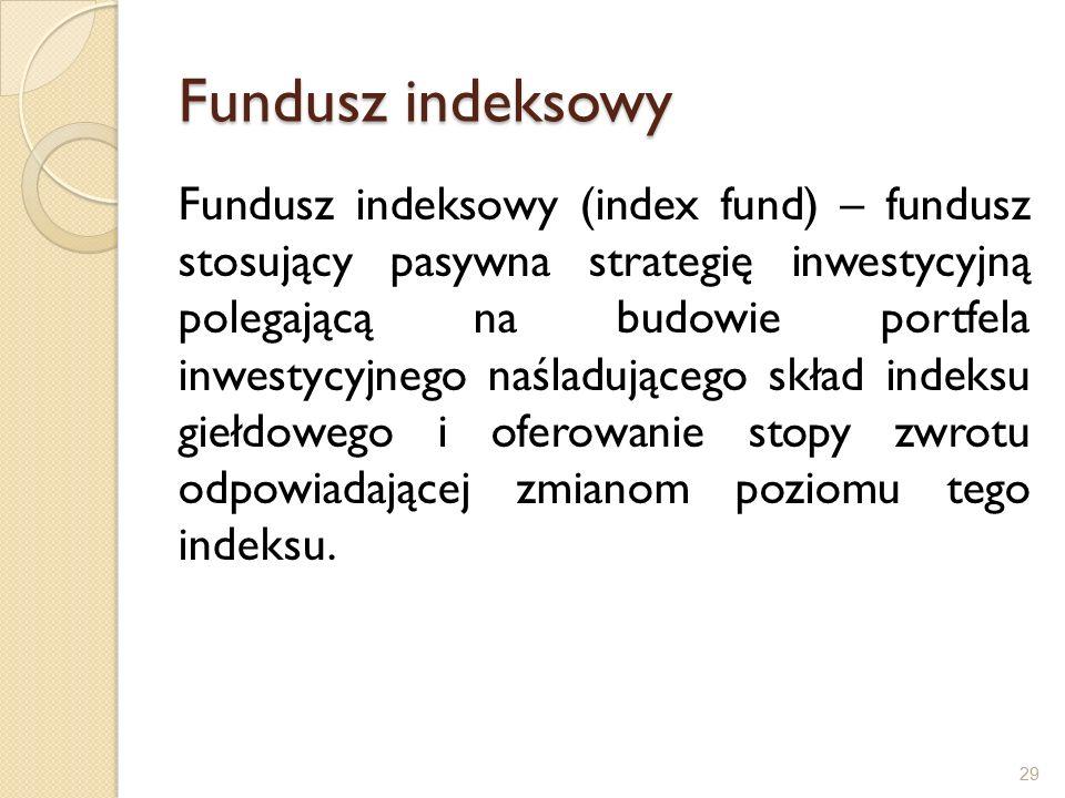 Fundusz indeksowy Fundusz indeksowy (index fund) – fundusz stosujący pasywna strategię inwestycyjną polegającą na budowie portfela inwestycyjnego naśladującego skład indeksu giełdowego i oferowanie stopy zwrotu odpowiadającej zmianom poziomu tego indeksu.