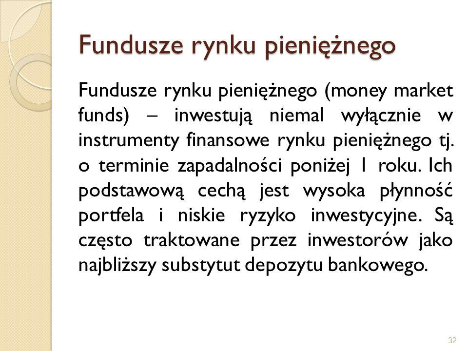 Fundusze rynku pieniężnego Fundusze rynku pieniężnego (money market funds) – inwestują niemal wyłącznie w instrumenty finansowe rynku pieniężnego tj.