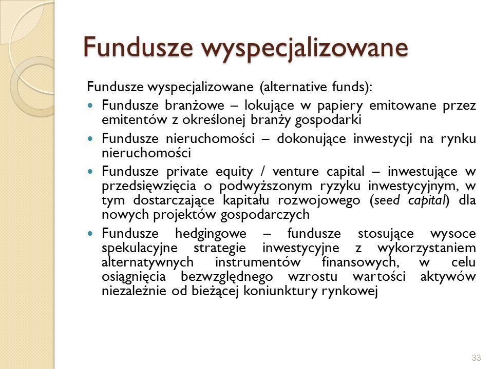 Fundusze wyspecjalizowane Fundusze wyspecjalizowane (alternative funds): Fundusze branżowe – lokujące w papiery emitowane przez emitentów z określonej branży gospodarki Fundusze nieruchomości – dokonujące inwestycji na rynku nieruchomości Fundusze private equity / venture capital – inwestujące w przedsięwzięcia o podwyższonym ryzyku inwestycyjnym, w tym dostarczające kapitału rozwojowego (seed capital) dla nowych projektów gospodarczych Fundusze hedgingowe – fundusze stosujące wysoce spekulacyjne strategie inwestycyjne z wykorzystaniem alternatywnych instrumentów finansowych, w celu osiągnięcia bezwzględnego wzrostu wartości aktywów niezależnie od bieżącej koniunktury rynkowej 33