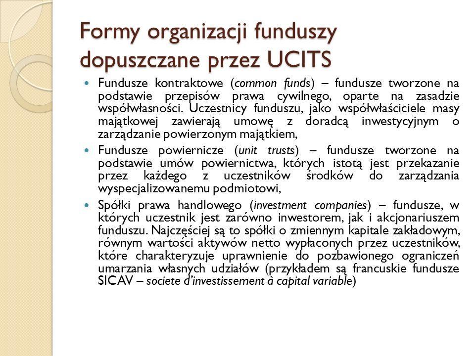Formy organizacji funduszy dopuszczane przez UCITS Fundusze kontraktowe (common funds) – fundusze tworzone na podstawie przepisów prawa cywilnego, oparte na zasadzie współwłasności.