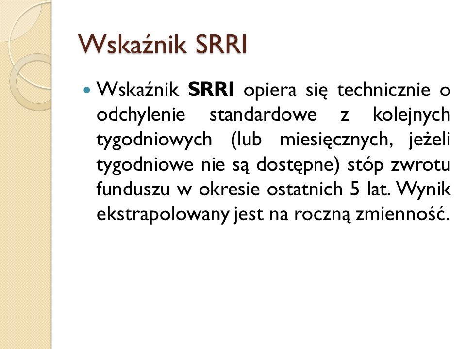 Wskaźnik SRRI Wskaźnik SRRI opiera się technicznie o odchylenie standardowe z kolejnych tygodniowych (lub miesięcznych, jeżeli tygodniowe nie są dostępne) stóp zwrotu funduszu w okresie ostatnich 5 lat.