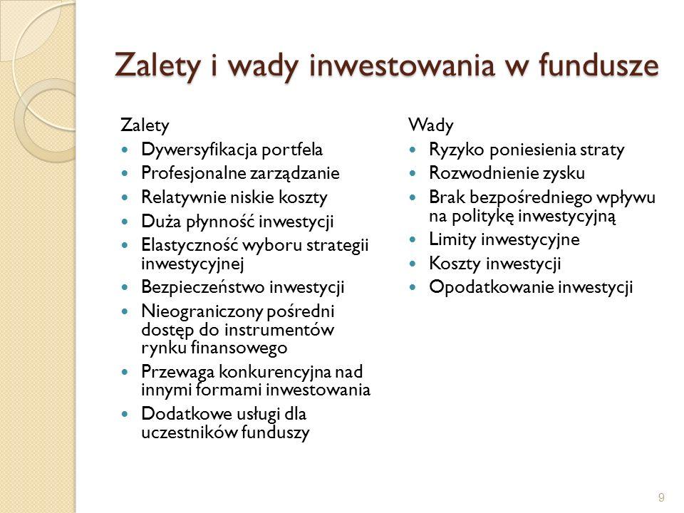 Zalety i wady inwestowania w fundusze Zalety Dywersyfikacja portfela Profesjonalne zarządzanie Relatywnie niskie koszty Duża płynność inwestycji Elastyczność wyboru strategii inwestycyjnej Bezpieczeństwo inwestycji Nieograniczony pośredni dostęp do instrumentów rynku finansowego Przewaga konkurencyjna nad innymi formami inwestowania Dodatkowe usługi dla uczestników funduszy Wady Ryzyko poniesienia straty Rozwodnienie zysku Brak bezpośredniego wpływu na politykę inwestycyjną Limity inwestycyjne Koszty inwestycji Opodatkowanie inwestycji 9
