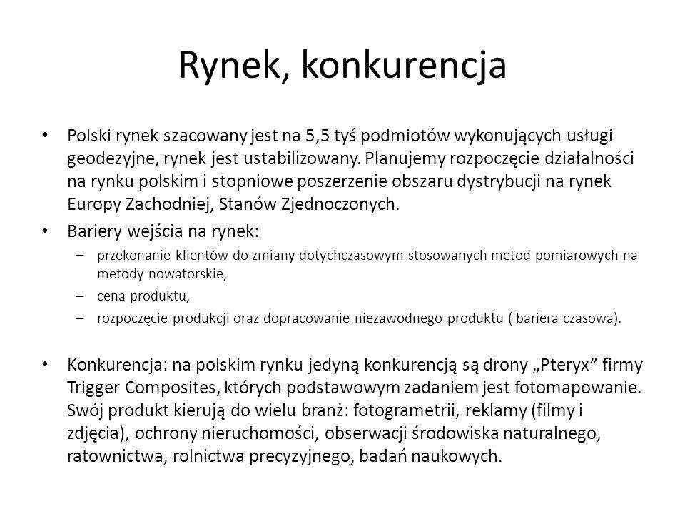 Rynek, konkurencja Polski rynek szacowany jest na 5,5 tyś podmiotów wykonujących usługi geodezyjne, rynek jest ustabilizowany.