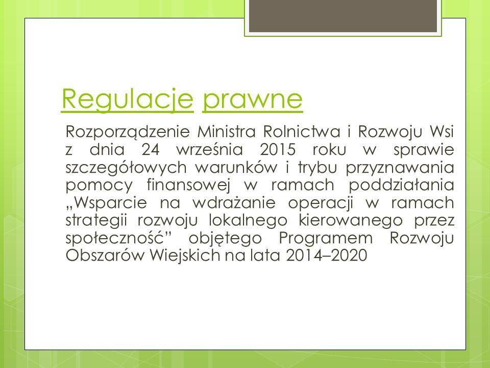 Regulacje prawne Ustawa z dnia 20 lutego 2015 roku o rozwoju lokalnym z udziałem lokalnej społeczności.
